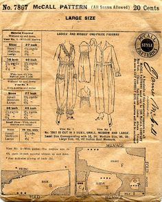 Unsung Sewing Patterns: McCall 7867 Ladies and Misses One-Piece Pajamas