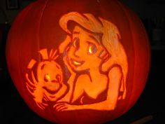 Ariel inspired carved pumpkin