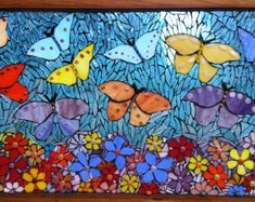 Crystal Blue Butterfly and Flower Mosaic on Reclaimed Wooden Window