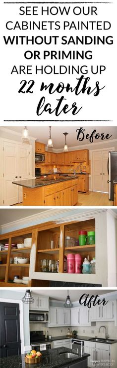 Come learn how my DIY painted kitchen cabinets are holding up nearly 2 years after we painted them (without sanding or priming)! Redo Kitchen Cabinets, Painting Kitchen Cabinets White, Staining Cabinets, Kitchen Cabinet Styles, Diy Cabinets, Kitchen Paint, Kitchen Redo, Kitchen Layout, Kitchen Design