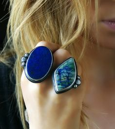 Grace Upon the Earth - Lapis Lazuli and Chrysocolla Sterling Silver Ring