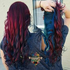 Dark red maroon and blue hair color