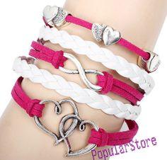 Silver infinity, Love , double heart bracelet, leathet bracelet, hand-woven bracelet, the best gift for lover,Christmas gift.
