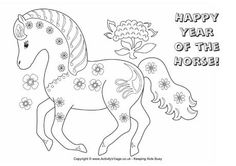 Happy Year of the Horse colouring page