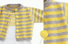Opera Baby Cardigan - Free Knitting Pattern : This cute striped baby cardigan is soft and made of the beautiful cotton yarn Phil Opera. Get the free knitting pattern of the Opera baby Cardigan here! Baby Knitting Patterns, Baby Sweater Patterns, Baby Cardigan Knitting Pattern, Knitted Baby Cardigan, Knitting For Kids, Baby Patterns, Free Knitting, Knit Baby Sweaters, Knitting Ideas