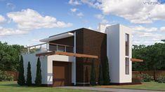 Строительство домов S21 в Екатеринбурге   Ультра Эс The Sims, Small House Design, Modern House Design, Plans Architecture, Small Modern Home, Home Projects, Facade, My House, Home Goods