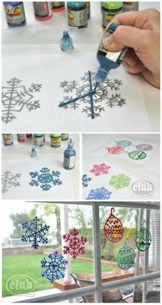 """Homemade Window Clings I forgot all about these. I did this with a creative arts club I ran for a few summers, and the results are wonderful. Kids who can draw are able to create free hand, and others can use templates or even pages of Christmas coloring books placed under plastic to trace over. I used sturdy plastic """"slides"""" as the drawing board, and we always were impressed with the results."""