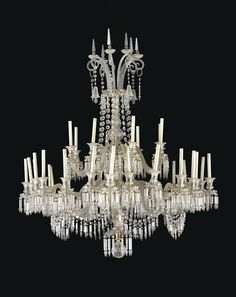 A late Victorian cut-glass thirty-two light chandelier, circa 1880, attributed to F. & C. Osler, Birmingham  160cm. high, 138cm. wide, 138cm. deep; 5ft. 3in., 4ft. 6 ¼in., 4ft. 6 ¼in.