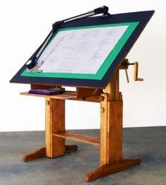 DIY Drafting Table - Imagine a touch screen monitor for the top. Diy Wood Projects, Furniture Projects, Fun Projects, Wood Crafts, Diy Furniture, Furniture Design, Desk Plans, Wood Plans, Table Plans