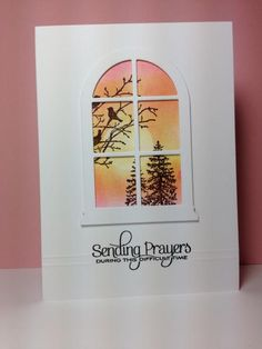 SU Serene Silhouettes, sub my Madison Window die, red birds, do as a Christmas card
