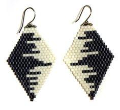 diamond drop earrings,  cityscape, white/gunmetal