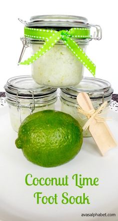 This easy foot soak recipe smells amazing and is so relaxing. Try it out today. You deserve to relax and have some me time! care at home Coconut Lime Foot Soak - Ava's Alphabet Home Foot Soak, Diy Foot Soak, Pedicure Soak, Pedicure At Home, Diy Body Scrub, Diy Scrub, Homemade Foot Soaks, Homemade Soaps, Foot Soak Recipe