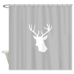 White stag deer head Shower Curtain on CafePress.com