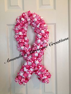 Modern Breast Cancer Support Ribbon Wreath by boyle6834 on Etsy, $40.00