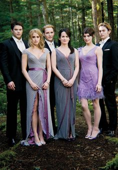 I wanted to do purple bridesmaids dresses before breaking dawn I swear...Oh god, they're in a stupid twilight movie?! DAMNIT TO HELL, man!