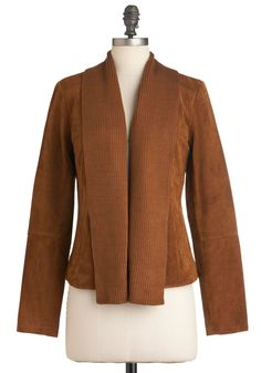 Oh Cabin, My Cabin Jacket by BB Dakota - Mid-length, Brown, Solid, Pockets, Long Sleeve, Suede, Fall, 2