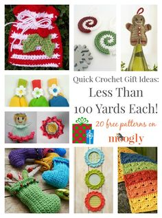 Quick Crochet Gift Ideas: Less Than 100 Yards Each!  on Mooglyblog.com ༺✿ƬⱤღ  https://www.pinterest.com/teretegui/✿༻