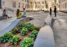 Garten Gestaltung Gartenwege anlegen Sitzbank Beton