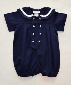 This Navy Piqué Sailor Romper - Infant is perfect! #zulilyfinds