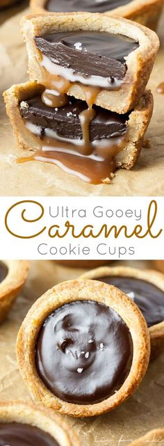 Gooey Caramel Cookie Cups - Liv for Cake Gooey Caramel Cookie Cups - Chewy cookie cups loaded with gooey caramel and topped with a silky dark chocolate ganache. Cookie Cups, Cookie Desserts, Just Desserts, Cookie Recipes, Delicious Desserts, Yummy Food, Cupcakes, Cupcake Cakes, Gula