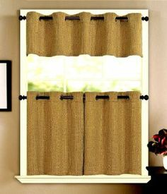 """Sonoma Grommet Top Solid Basket Weave 24"""" tier Gold by The_Curtain_Shop. $17.99. High Quality. 100% polyester. 12 Grommets per pair. Perfect in many different rooms. Machine Care. Shiny yarns with variegated color are woven together with solid color dull yarn in a basket weave pattern to creat this textured fabric. The grommets can accommodate up to a 7/8"""" diameter curtain rod."""