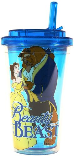 Silver Buffalo DQ9784 Disney Beauty and the Beast BPA-Free Plastic Flip Straw Cold Cup, 16 oz., Blue