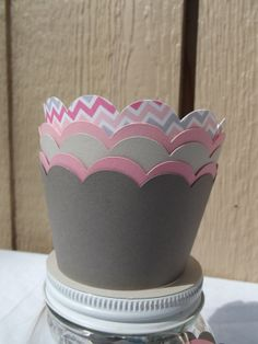 Pink and Grey Chevron Cupcake Wrappers  ~ Baby Shower, Bridal Shower, Birthday Party, Engagement, Girly Party, ~ FREE SHIPPING