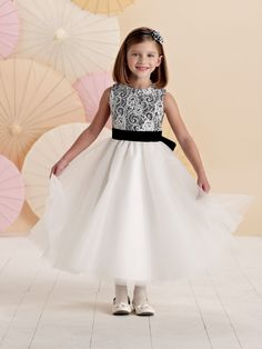 Joan Calabrese For Mon Cheri 211301 - Sleeveless tea-length lace, satin and tulle A-line dress with jewel neckline, re-embroidered lace over satin bodice, self-tie satin waistband, full gathered tulle skirt. #JoanCalabrese #MonCheri #flowergirl #AtlasBridal