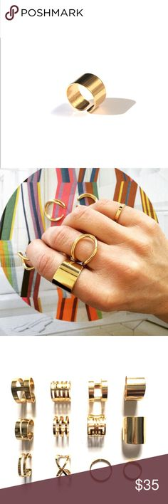 Haarstick's Cigar Band Ring Gold plated cigar band ring. Wear it alone or stack with other Haarstick rings! Haarstick Jewelry Jewelry Rings