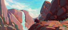 There's a real warmth and mood to Canyons - #conceptart #speedpaint sketches by Slawek Fedorczuk
