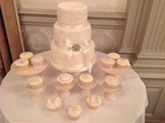 Lace ivory wedding cake