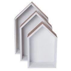 Blanco House Shelves Set 3 Piece - Giftware - Homewares - The Warehouse