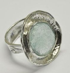 Roman glass sterling silver ring by Bluenoemi on Etsy,