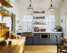 LOVE the dark Grey/Blue Cabinets! Kitchen of the Month: House Beautiful Magazine ©Gridley + Graves Photogrpahy. French Country Kitchen on Nantucket. Blue Cabinets, Upper Cabinets, Grey Cupboards, Birch Cabinets, Grey Kitchens, Home Kitchens, French Kitchens, Country Kitchens, Kitchen Countertops