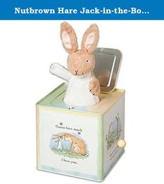 """Nutbrown Hare Jack-in-the-Box Classic Musical Baby Toy Pop Goes the Weasel. Inspired by the characters in the 1994 award-winning children's book, Guess How Much I Love You. Turn the crank to hear the classic tune """"Pop Goes The Weasel,"""" with a plush Little Nutbrown Hare emerging at the end. Wipe-clean metal and plastic. For ages 6 months & up. 6"""" x 5.5"""" x 5""""."""