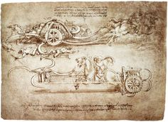Scythed Chariot,  Artist: Leonardo da Vinci,  Completion Date: c.1483,  Place of Creation: Milan, Italy,  Style: Early Renaissance,  Genre: sketch and study,  Technique: ink,  Material: paper,  Gallery: Palazzo Reale, Turin, Italy