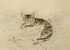 Tsuguharu Foujita, Chat sur des couvertures [the crossed paws; the wrapped tail; the VERY ALERT ears]