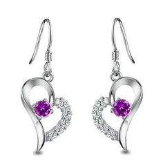 $27.00 Rhodium Plated 925 Sterling Silver Amethyst Diamond Accent Heart Earrings-SE3257