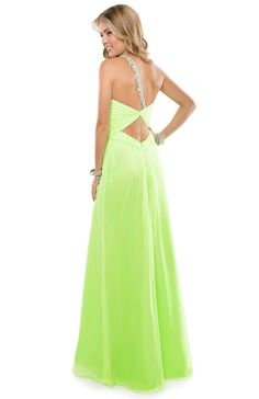 Chiffon Babydoll Dress with a Jeweled Strap & Embellished Bust | FLIRT #neon #green #prom #strapless