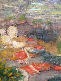 Les toits à travers les mimosas, paysage du Cannet, Pierre Bonnard, vers 1925, détail.
