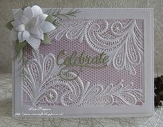 Ornate Lace.. Birthday Cards For Women, Handmade Birthday Cards, Greeting Cards Handmade, Wedding Anniversary Cards, Wedding Cards, Cricut Wedding, Happy Anniversary, Scrapbooking, Scrapbook Cards