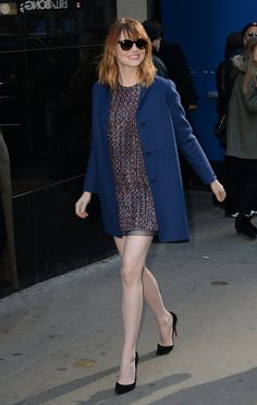 Proving her casual style is just as sharp as her red carpet game, Emma Stone bared her gams in a tweed shift.