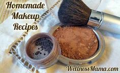 Homemade Makeup Recipes - Foundation (arrowroot, cinnamon, cocoa powder), blush (same), eyeliner (arrow root or activated charcoal or spirulina (green),