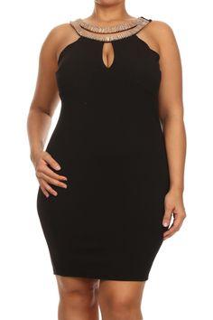 Plus Size Sexy Gilded Neckline Textured Dress – PLUSSIZEFIX