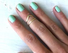 Brass knuckle chevronish  stacking rings