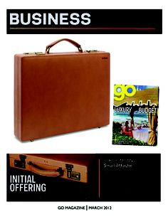 Our Belting Leather Small Attache in a smart mention in the March 2012 issue of Go Magazine!