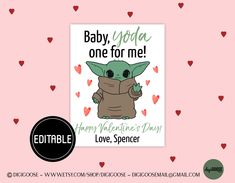 EDITABLE Child Yoda Valentine Card / Valentine Printable for Kids / The Youngster Val ., Why Is Valentines Day Outfit Popularin North Korea? Whenever we consider Valentines Day we i, Valentines Day Memes, Valentines Outfits, Valentines Day Party, Valentines For Kids, Valentine Cards, Birthday Template, Valentine's Cards For Kids, Printables, North Korea