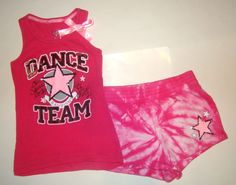 Justice Dance Team Pink Tie-Dye Star Sequins Tank Top Shorts Outfit Set Girl 7 8
