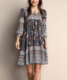 Look what I found on #zulily! Gray Floral Tie-Front Tunic Dress - Plus by Reborn Collection #zulilyfinds