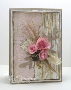 CC28 rolled roses, woodgrain, tickets, lace, leaves and burlap all combine for a verry elegant card